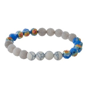 Dainty, natural stone and faceted bead stretch bracelet.
