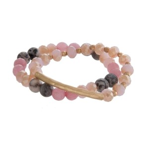 Natural stone and faceted bead, two piece stretch bracelet set with a hammered, gold tone bar.