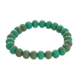 Matte, faceted bead, stackable stretch bracelet.
