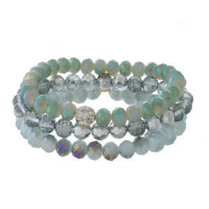Ombre, faceted bead, three piece stretch bracelet set.