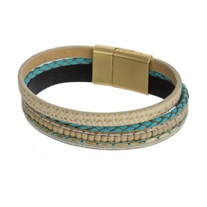 Magnetic leather bracelet with chain and rhinestone details.