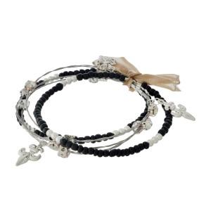 "7.5"" around black bead and silver fleur de lis 5 strand whimsical illusion bracelet"