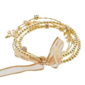 "7.5"" around gold Fleur de lis 5 strand whimsical illusion bracelet"