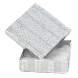"Silver Gift Box with Cotton Batting Insert. (Approx. 3 1/2"" x 3 1/2"" x 1"")"