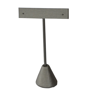 "Steel gray earring stand measuring 4 3/4"" high."