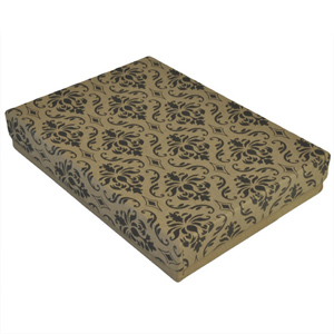 "Damask Gift Box with Cotton Batting Insert. (Approx. 5.5"" x 4"" x 1"")"
