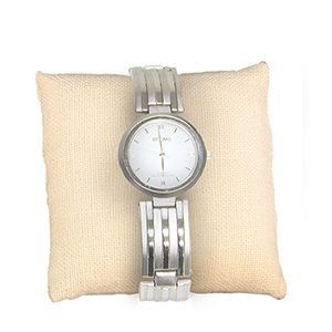 "3"" x 3"" linen pillow perfect for displaying your bracelets, watches, and pins. *JEWELRY NOT INCLUDED*"