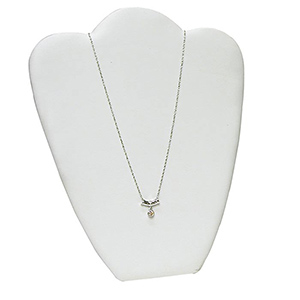 "Elegant economical necklace display. Measures 8 5/8"" wide by 10 7/8"" tall. White leatherette. *Necklace Not Included*"