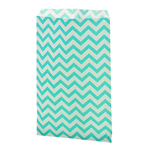 "100 count teal green medium size chevron print gift bags. Approximately 9"" x 6"""