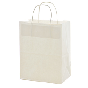 """White paper shopping bag. Approximately 8"""" x 4.75"""" x 10.25"""""""