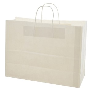 "White paper shopping bag. Approximately 16"" x 6"" x 16"""
