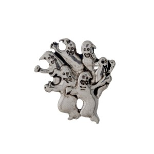 "Silver tone ghost pin. Approximately 1.5"" in width."