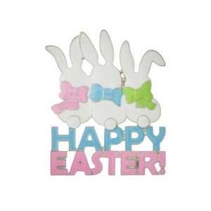 "Silver tone ""Happy Easter"" pin with three white bunnies. Measures approximately 1.5"" x 2."""