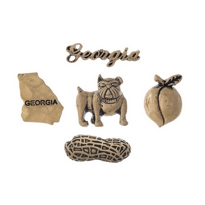 Gold tone pin set with a Georgia theme.