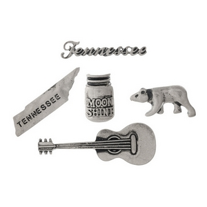 Silver tone pin set with a Tennessee theme.