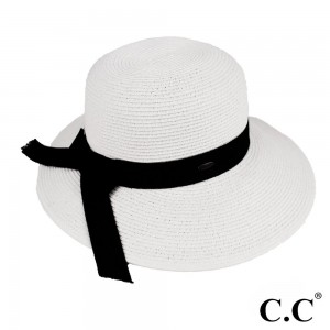 C.C brand ST-14 brim hat with solid color band. 80% paper straw and 20% polyester. UPF 50+