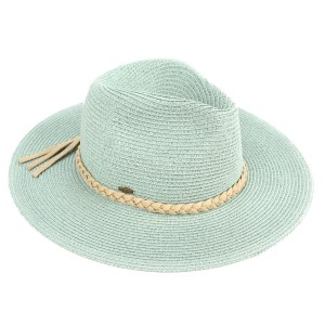 C.C brand ST-03 brim hat with faux leather band. 80% paper straw and 20% polyester. UPF 50+