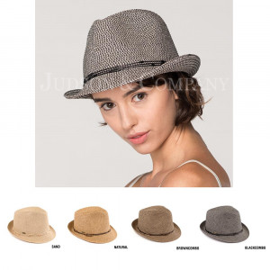 C.C brand ST-503 multi colored fedora hat with decorative string. 80% paper straw and 20% polyester. UPF 50+
