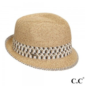 C.C brand ST-108 fedora hat with aztec band. 80% paper straw and 20% polyester. UPF 50+