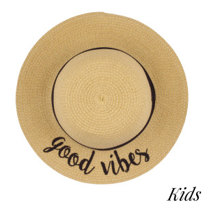 "C.C Brand, kids floppy beach hat. 100% paper. Brim measures 3"" in width, crown is 7"" in diameter, and hat is 11"" in total diameter. Best suited for ages 2-6 years old. Hats come with attached adjustable chin strap to hold hat in place. This hat is crushable/packable and able to hold it's shape. UPF 50+"
