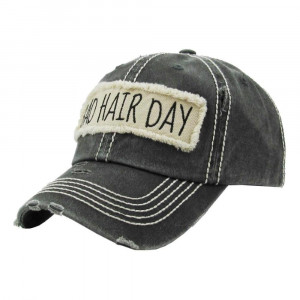 """Bad Hair Day"" embroidered, vintage style ball cap with washed-look details.  - 100% cotton - Adjustable back strap - One size fits most"
