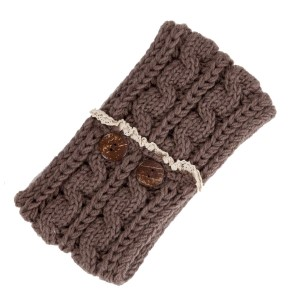 Taupe cable knit head wrap with ivory lace and brown button details. 100% polyester.