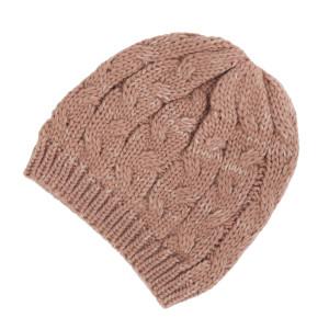 Mauve cable knit beanie. 100% acrylic.