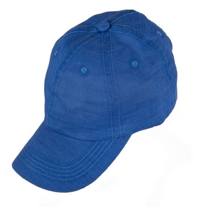 Blue hat with a linen look and feel, and an adjustable band in the back. 50% cotton and 50% polyester. Perfect for monogramming!