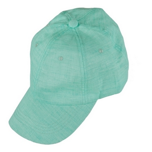 Mint green hat with a linen look and feel, and an adjustable band in the back. 50% cotton and 50% polyester. Perfect for monogramming!