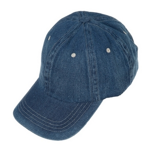 Lightly distressed, dark denim hat with an adjustable back and a ponytail hole. 100% cotton.