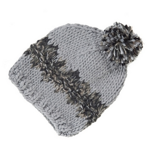 Gray and black knit beanie hat with a pom pom on the top. 100% acrylic.