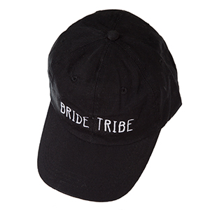 "Black hat with a velcro adjustable back, embroidered with ""Bride Tribe."""