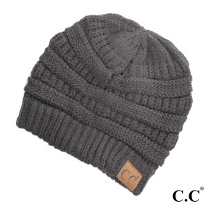 "The original C.C beanie style in dark melange gray. 100% acrylic. Measures 9.5"" in diameter and 8"" in length."