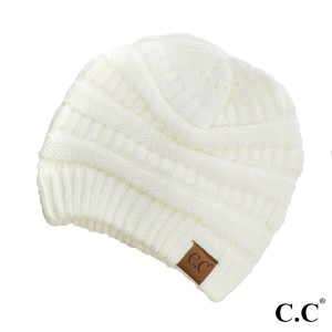 "The original C.C beanie style in ivory. 100% acrylic. Measures 9.5"" in diameter and 8"" in length."