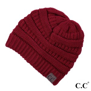 "The original C.C beanie style in red. 100% acrylic. Measures 9.5"" in diameter and 8"" in length."