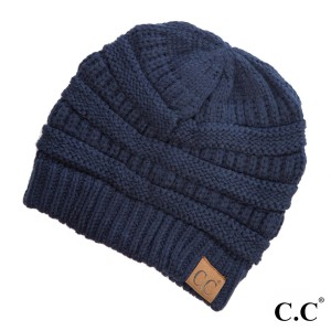 "The original C.C beanie style in navy blue. 100% acrylic. Measures 9.5"" in diameter and 8"" in length."