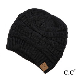 "The original C.C beanie style in black. 100% acrylic. Measures 9.5"" in diameter and 8"" in length."