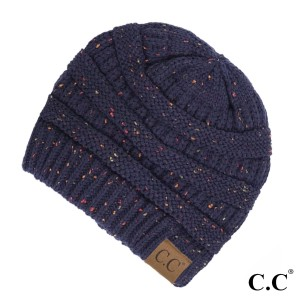 Cable knit, confetti print C.C beanie in navy blue. 100% acrylic.