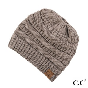 Messy-bun, C.C beanie in taupe. 100% acrylic.