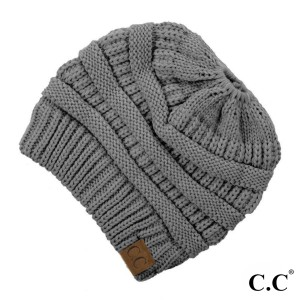 Messy-bun, C.C beanie in light melange gray. 100% acrylic.
