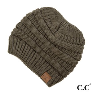 Messy-bun, C.C beanie in new olive. 100% acrylic.