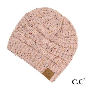 Cable knit, confetti print C.C beanie in indi pink. 100% acrylic.