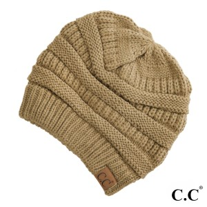 "The original C.C beanie style in camel. 100% acrylic. Measures 9.5"" in diameter and 8"" in length."