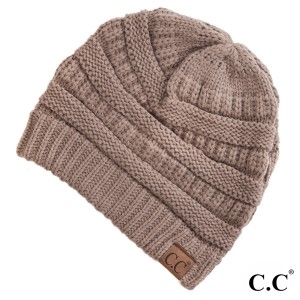 "The original C.C beanie style in taupe. 100% acrylic. Measures 9.5"" in diameter and 8"" in length."