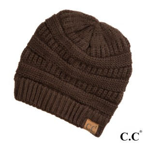 "The original C.C beanie style in brown. 100% acrylic. Measures 9.5"" in diameter and 8"" in length."