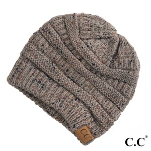 Cable knit, confetti print C.C beanie in taupe. 100% acrylic.