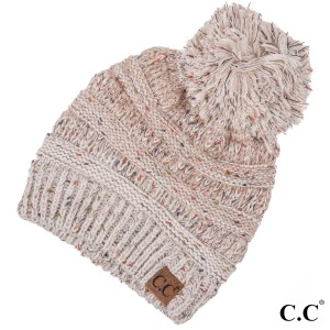 Cable knit, confetti print C.C beanie with pom pom, in oatmeal. 100% acrylic.