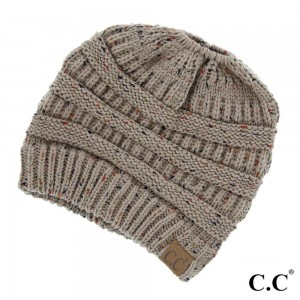 Messy-bun, confetti print C.C beanie in taupe. 100% acrylic.