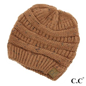 Cable knit, confetti print C.C beanie in rust. 100% acrylic.