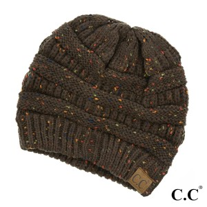 Cable knit, confetti print C.C beanie in brown. 100% acrylic.